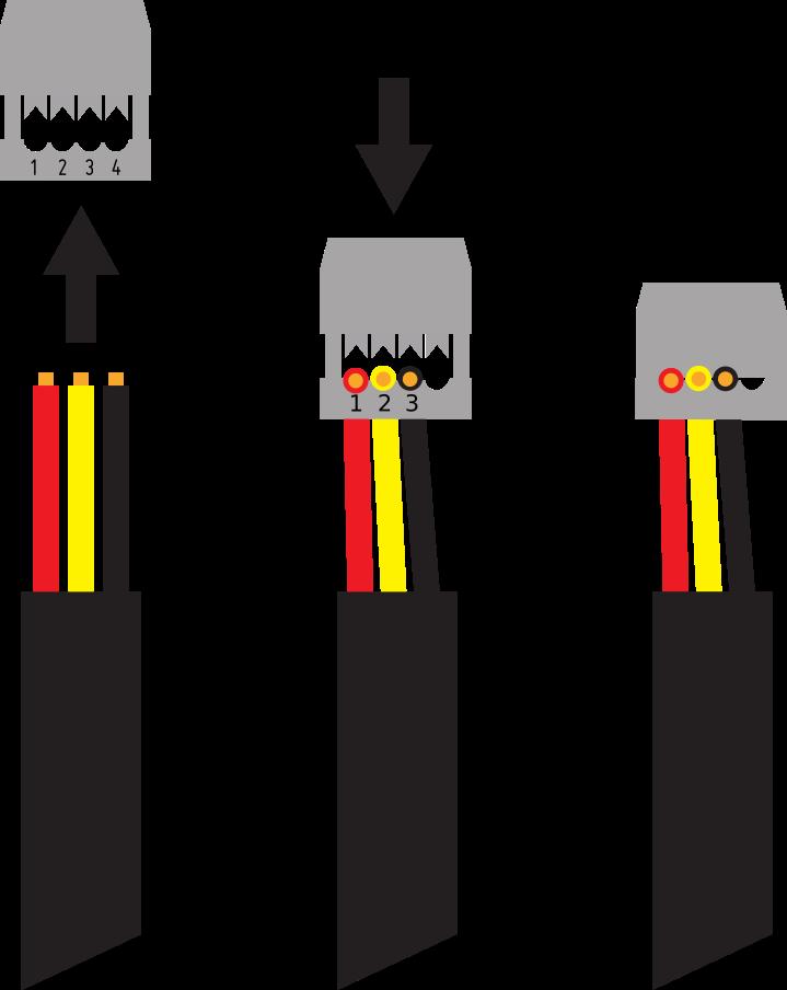 Montage der Pfostenbuchsen auf Sensorkabel