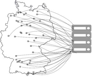 Karte mit Standorten und server