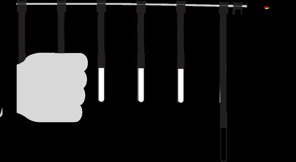 FlachbandArray mit Hand um den zweiten sensor geschlossen